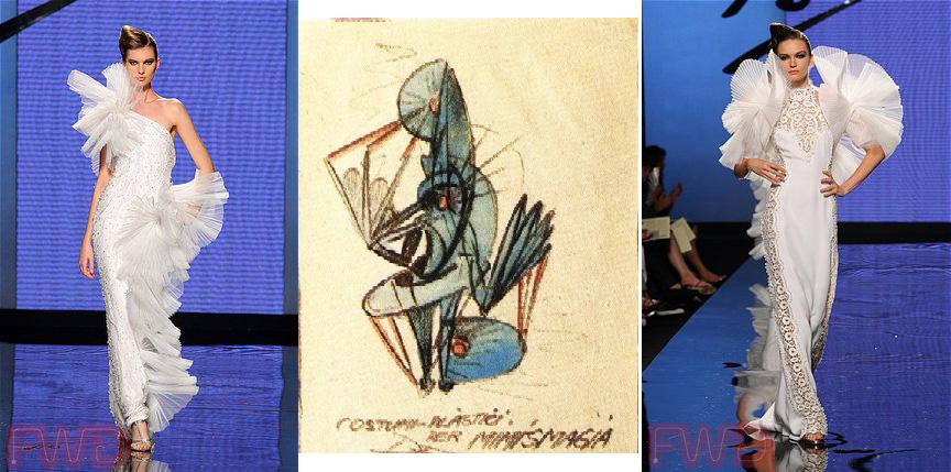 Sarli's designs (left, right) and Depero's costume design (center)
