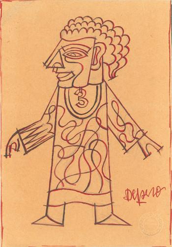 Fortunato Depero (1892- 1960) Tunica futurista, 1923 ca. matita, china e inchiostro rosso su carta da imballo, cm 16×23,7