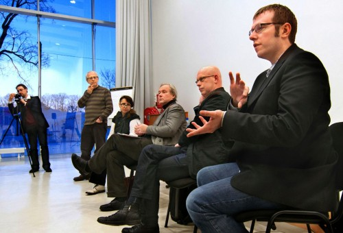 Second day of the symposium: Round table discussion with (from right to left) Edward Venn, Raivo Kelomees, Günter Berghaus, Galina Gubanova, Tiit Hennoste, Gerhard Lock. Photographer: Harri Rospu.
